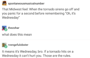 "Omg, Tumblr, and Http: spontaneousmusicalnumber  That Midwest feel: When the tornado sirens go off and  you panic for a second before remembering ""Oh, it's  Wednesday""  thezohar  what does this mean  rvengefulobster  It means it's Wednesday, bro. If a tornado hits on a  Wednesday it can't hurt you. Those are the rules Midwest rulesomg-humor.tumblr.com"