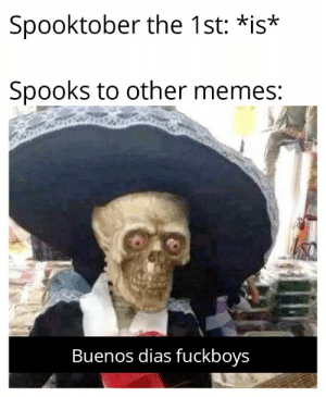 I mean, I'm not mad: Spooktober the 1st: *is*  Spooks to other memes:  Buenos dias fuckboys I mean, I'm not mad