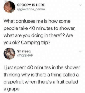 Shower, How, and Grapefruit: SPOOPY IS HERE  @giovanna_camm  What confuses me is how some  people take 40 minutes to shower,  what are you doing in there?? Are  you ok? Camping trip?  Shafeeq  @Y2SHAF  just spent 40 minutes in the shower  thinking why is there a thing called a  grapefruit when there's a fruit called  a grape