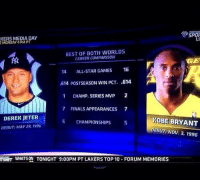 Kobe and Jeter = Greatness: SPOR  KERS MEDIA DAY  MONDAY 4 PM PT  BEST OF BOTH WORLDS  CAREER COMPARISON  GE  14 ALL STAR GAMES  16  .614 POSTSEASON WIN PCT  .614  1 CHAMP, SERIES MVP  2  7 FINALS APPEARANCES 7  DEREK JETER  KOBE BRYANT  5 CHAMPIONSHIPS  5  DEBUT: MAV 29, 1996  DEBUT: Nov. 3, 1996  TSNET WHAT SON TONICHT 9:00PM PT LAKERS TOP 10 FORUM MEMORIES Kobe and Jeter = Greatness