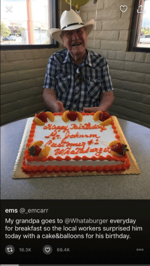 Birthday, Whataburger, and Grandpa: Sport  Maney Peirtdon  Lustinasr 1  ems @emcarr  My grandpa goes to @Whataburger everyday  for breakfast so the local workers surprised him  today with a cake&balloons for his birthday.  69.4K  16.3K  OOo Even burger places can be wholesome! via /r/wholesomememes https://ift.tt/2GtnCcA