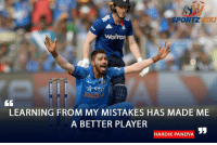 Indian all rounder Hardik Pandya ahead of the 1st T20I at Kanpur: SPORT2  Waitros  Sto  LEARNING FROM MY MISTAKES HAS MADE ME  A BETTER PLAYER  HARDIK PANDYA Indian all rounder Hardik Pandya ahead of the 1st T20I at Kanpur