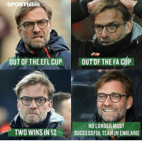 Klopp.........😨😂: SPORTbible  OUT OF THE EFL CUP  OUT OF THE FA CUP  NO LONGER MOST  TWO WINSHN 12  SUCCESSFUL TEAM IN ENGLAND Klopp.........😨😂