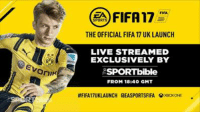 Lethal Bizzle & Kez vs Olly Murs & Sean: SPORTS  FIFA17  THE OFFICIAL FIFA 17 UK LAUNCH  LIVE STREAMED  EXCLUSIVELY BY  ESPORTbible  FROM 18140 GMT  #FIFA17UKLAUNCH raEASPORTSFIFA SXoaxONE Lethal Bizzle & Kez vs Olly Murs & Sean