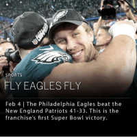 Philadelphia Eagles, England, and Memes: SPORTS  FLY EAGLESFLY  Feb 4 | The Philadelphia Eagles beat the  New England Patriots 41-33. This is the  franchise's first Super Bowl victory. The Philadelphia Eagles beat the New England Patriots 41-33 giving the team their first Super Bowl victory. ____ The last time the Eagles competed for a Super Bowl title was in 2005, and previously 1981. ____ Photo: AJ Mast | The New York Times