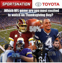 Voters love that two NFC East teams are battling it out on Turkey Day. Let's go to the results in our @toyotausa pulseofthenation poll!: SPORTSNATION  TOYOTA  Which NFL game are Mou most excited  to Watchon Thanksgiving Day?  620% Voters love that two NFC East teams are battling it out on Turkey Day. Let's go to the results in our @toyotausa pulseofthenation poll!