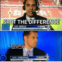 Football, Memes, and Premier League: SPOT THE DIFFERENCE  GARY NEVILLE  WON 8 PREMIER LEAGUE TITLES WITH MAN UTD  sky SPORT  THE EPL FOOTBALL HUE  JAMIE CARRAGHER  737 APPS FOR LIVERPOOL, 1997-2013  sky SPORTS Not long until the return of MNF...