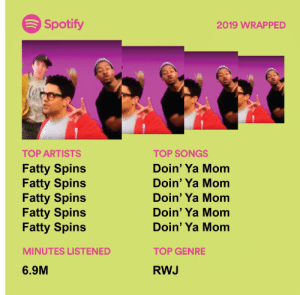 me_irl: Spotify  2019 WRAPPED  TOP ARTISTS  TOP SONGS  Doin' Ya Mom  Fatty Spins  Fatty Spins  Fatty Spins  Fatty Spins  Fatty Spins  Doin' Ya Mom  Doin' Ya Mom  Doin' Ya Mom  Doin' Ya Mom  MINUTES LISTENED  TOP GENRE  6.9M  RWJ me_irl