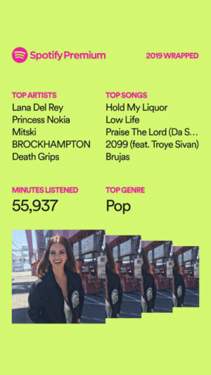 yes im gay: Spotify Premium  2019 WRAPPED  TOP ARTISTS  TOP SONGS  Lana Del Rey  Hold My Liquor  Princess Nokia  Low Life  Praise The Lord (Da S...  2099 (feat. Troye Sivan)  Brujas  Mitski  BROCKHAMPTON  Death Grips  TOP GENRE  MINUTES LISTENED  Pop  55,937 yes im gay