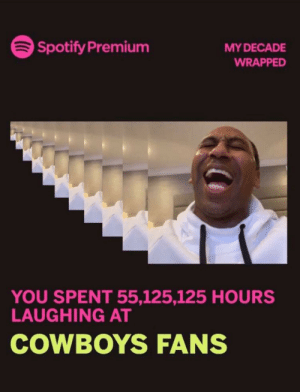 Something like this?: Spotify Premium  MY DECADE  WRAPPED  YOU SPENT 55,125,125 HOURS  LAUGHING AT  COWBOYS FANS Something like this?