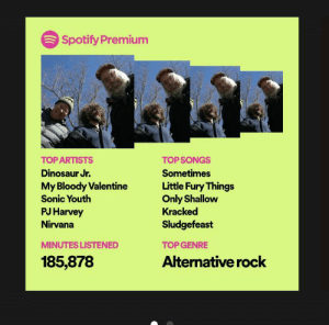Dinosaur, Nirvana, and Spotify: Spotify Premium  TOP ARTISTS  TOPSONGS  Dinosaur Jr.  Sometimes  My Bloody Valentine  Sonic Youth  Little Fury Things  Only Shallow  Kracked  PJ Harvey  Nirvana  Sludgefeast  MINUTES LISTENED  TOP GENRE  185,878  Alternative rock Ngl this is pretty unhealthy