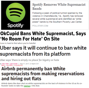 "santafeprologue:  onlyblackgirl:    @staff: Spotify Removes White Supremacist  Bands  Following a week of political turmoil sparked by the  violence in Charlottesville, Va., Spotify has removed  several white supremacist acts identified as ""white  power bands by the Southern Poverty Law Center.  POLLSTAR.COM  Spotify   OkCupid Bans White Supremacist, Says  No Room For Hate' On Site  Love is hard to find when you're hatefu   Uber says it will continue to ban white  supremacists from its platform  er says there is simply no place for bigotry or hate  by Nick Statt