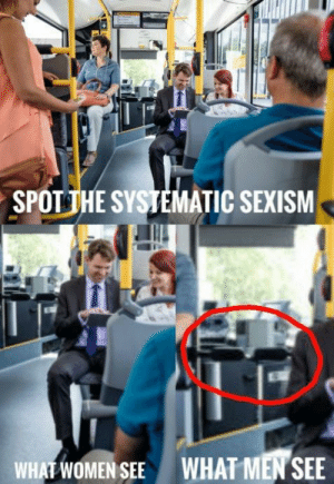 Dank, Memes, and Target: SPOTİHE SYSTEMATIC SEXISM  WHAT WOMEN SEE  WHAT MEN SEE There should be a campaign to change the height of these things so I dont get kicked in the balls everytime I want to enter a bus by daviDoubleu MORE MEMES HERE