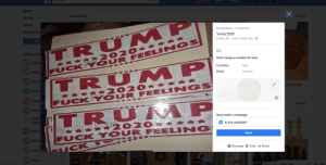 Spotted on FB Marketplace. Pretty much sums up most of the Trump supporters in our area.: Spotted on FB Marketplace. Pretty much sums up most of the Trump supporters in our area.