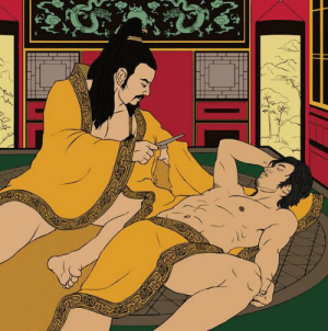 """spring-day6:  lyrica-in-nerdvana:  daysofstorm:  pilgrim-soulinyou:  jeremyyyallan:  fagraklett:  Chinese emperor Ai of Han, fell in love with a minor official, a man named Dong Xian, and bestowed upon him great political power and a magnificent palace. Legend has it that one day while the two men were sleeping in the same bed, the emperor was roused from his sleep by pressing business. Dong Xian had fallen asleep across the emperor's robe, but rather than awaken his peaceful lover, the Emperor cut his robe free at the sleeve. Thus """"the passion of the cut sleeve"""" became a euphemism for same-sex love in China. — R.G.L.   get you a dude who will fuck up his own clothing for you  NO OKAY THIS IS REALLY COOL SO SHUT UP AND LISTEN KIDS. Ancient China was super chill about homosexuality okay. Like we have gay emperors and feudal lords, lesbian princesses who were girlfriends with their serving maids, gay ass poets who wrote lots of poems about that one courtesan who played the guzheng so well.In fact homosexuality was so okay that in Shiji, which is basically the Bible of Ancient Chinese history, there is an entire section dedicated to the gay lovers of emperors. What's the best part? All the laws and criticism about homosexuality in Ancient China were all about shit like prostitution and rape. These laws were outlawing homosexual stuff were all very specific. For example, there were laws banning male prostitution, but no laws against homosexuality. These laws were passed to stop the spread of prostitution and laws targeting prostitution in general were pretty common in Chinese history. There were also really strict laws about male rape. Rape was punishable by death, regardless of the gender of the victim. Rape a girl, you die. Rape a guy, you die. Have sex with a minor, you die regardless of whether it was consensual. The lightest sentence you could get was slavery where you were bound to the army.Also scholars wrote essays criticising the boyfriends of emperors, saying """
