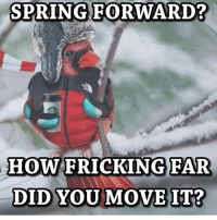 SPRING FORWARD?  HOW  FRICKING FAR  DID YOU MOVE IT?