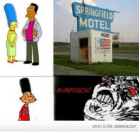 Memes, 🤖, and Motel: SPRINGFIELD  MOTEL  MINDFUCK  WHO IS MR DAMNLOL?