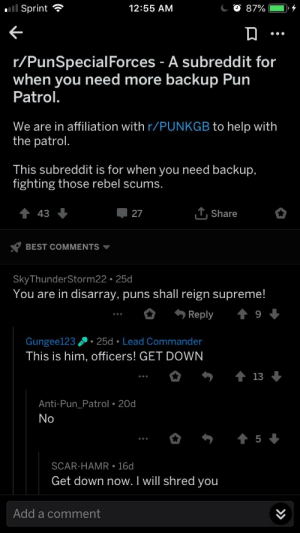 Puns, Supreme, and Best: Sprint  12:55 AM  r/PunSpecialForces - A subreddit for  when you need more backup Pun  Patrol.  We are in affiliation with r/PUNKGB to help with  the patrol  This subreddit is for when you need backup,  fighting those rebel scums  t 43  T, Share  BEST COMMENTS ▼  SkyThunderStorm22 25d  You are in disarray, puns shall reign supreme!  Reply  9  Gungee123 25d Lead Commander  This is him, officers! GET DOWN  Anti-Pun Patrol 20d  SCAR-HAMR 16d  Get down now. I will shred you  Add a comment Arrest this man