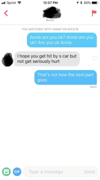 Gif, Annie, and Sprint: Sprint  12:57 PM  Annie  YOU MATCHED WITH ANNIE ON 8/23/18  Annie are you ok? Annie are you  ok? Are you ok Annie  I hope you get hit by s car but  not get seriously hurt  That's not how the next part  goes  Sent  GIF  Type a message  Send Annie are you ok?