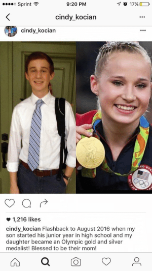 Blessed, School, and Silver: Sprint  9:20 PM  17 O 17%)  cindy kocian  cindy_kocian  0.  1,216 likes  cindy_kocian Flashback to August 2016 when my  son started his junior year in high school and my  daughter became an Olympic gold and silver  medalist! Blessed to be their mom! meirl