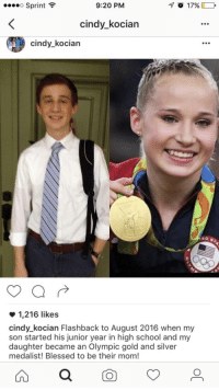 Me irl: Sprint  9:20 PM  cindy_kocian  cindy_kocian  1,216 likes  cindy_kocian Flashback to August 2016 when my  son started his junior year in high school and my  daughter became an Olympic gold and silver  medalist! Blessed to be their mom! Me irl