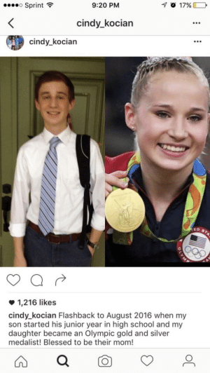 Me irl by aaimani04 MORE MEMES: Sprint  9:20 PM  cindy_kocian  cindy_kocian  1,216 likes  cindy_kocian Flashback to August 2016 when my  son started his junior year in high school and my  daughter became an Olympic gold and silver  medalist! Blessed to be their mom! Me irl by aaimani04 MORE MEMES