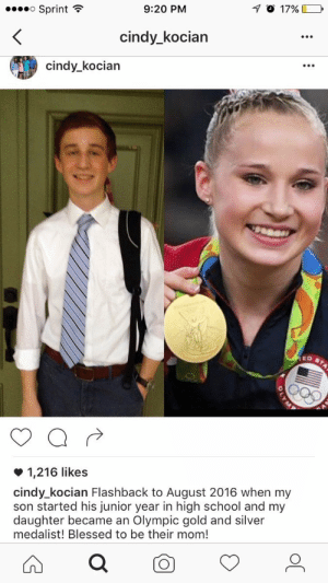 adulthoodisokay: i can't believe she just murdered her son like that [x] : Sprint  9:20 PM  cindy_kocian  cindy_kocian  1,216 likes  cindy_kocian Flashback to August 2016 when my  son started his junior year in high school and my  daughter became an Olympic gold and silver  medalist! Blessed to be their mom! adulthoodisokay: i can't believe she just murdered her son like that [x]