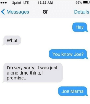 This ain't a spooky meme. Doot: Sprint LTE  69%  12:23 AM  Gf  Details  Messages  Hey  What  You know Joe  I'm very sorry. It was just  a one time thing, I  promise..  Joe Mama This ain't a spooky meme. Doot