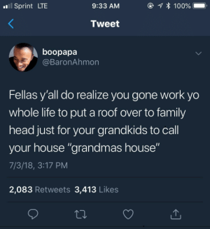 "She made the house into a home: Sprint LTE  9:33 AM  Tweet  boopapa  @BaronAhmon  Fellas y'all do realize you gone work yo  whole life to put a roof over to family  head just for your grandkids to call  your house ""grandmas house""  7/3/18, 3:17 PM  2,083 Retweets 3,413 Likes She made the house into a home"