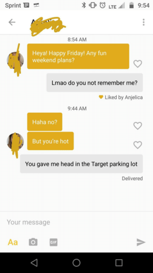 Friday, Gif, and Head: Sprint  O LTE 9:54  8:54 AM  Heya! Happy Friday! Any fun  weekend plans?  Lmao do you not remember me?  Liked by Anjelica  9:44 AM  Haha no?  But you're hot  You gave me head in the Target parking lot  Delivered  Your message  GIF Well this is awkward
