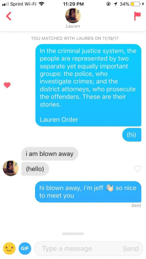 Gif, Hello, and Police: Sprint Wi-Fi  11:29 PM  Lauren  YOU MATCHED WITH LAUREN ON 11/19/17  In the criminal justice system, the  people are represented by two  separate yet equally important  groups: the police, who  investigate crimes; and the  district attorneys, who prosecute  the offenders. These are their  stories.  Lauren Order  I am blown away  (hello)  hi blown away, i'm jeffso nice  to meet you  Sent  GIF  Type a message  Send DUN DUN