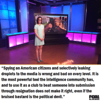"""power tools: """"Spying on American citizens and selectively leaking  droplets to the media is Wrong and bad on every level. It is  the most powerful tool the intelligence community has,  and to use it as a club to beat someone into submission  through resignation does not make it right, even if the  bruised bastard is the political devil.""""  BUSINESS"""