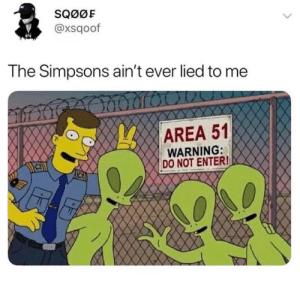 Dank, The Simpsons, and The Simpsons: SQ0OF  @xsqoof  The Simpsons ain't ever lied to me  AREA 51  WARNING:  DO NOT ENTER! They haven't lied to me before