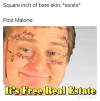 @adam.the.creator is a legend: Square inch of bare skin: *exists*  Post Malone:  adam.the.creator  Iis Free Real Estate  MADE WITH MOMUS @adam.the.creator is a legend