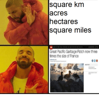 Square Knm Acres Hectares Square Miles Great Pacific Garbage Patch Now Three Times The Size Of France Reddit Meme On Me Me
