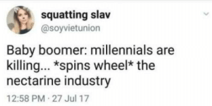 Lets see what we ruined today :)): squatting slav  @soyvietunion  Baby boomer: millennials are  killing. *spins wheel* the  nectarine industry  12:58 PM 27 Jul 17 Lets see what we ruined today :))
