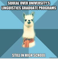 "Meme, School, and Blue: SQUEALOVER UNIVERSITYS  LINGUISTICS GRADUATE PROGRAMS  STILLIN HIGHSCHOOL <p>[Picture: Background: 8-piece pie-style color split with alternating shades of blue. Foreground: Linguist Llama meme, a white llama facing forward, wearing a red scarf. Top text: ""Squeal over university&rsquo;s linguistics graduate programs"" Bottom text: ""Still in high school""]</p>"