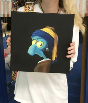 Squid with the Pearl Earring (My student's art final): Squid with the Pearl Earring (My student's art final)