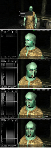 Head, Mood, and Zoom: squitward  4  Enter Accept Tab Cancel   HAIR  SOverlays Cera Sculpt  Sliders  FILTER  Hair  Facial Hair  Hair Color  79  9  R Done Space Search LAt Zoom Out LGrl) Light Off  F9 Load Preset FS Save Preset ZExport Head  NAME Prisoner  BACE Imperial   EXPRESSIONS(3/15)  SOverlays Cera Sculpt  Sliders  FILTER  Dialogue Surprise0  Dialogue Disgusted0  Dialogue Puzzled  Combat Shout  Combat Anger  Squint Right  Squint Lef  Mood Surprise  Mood Sad  Mood Puzzled  Mood Happy  Mood Fear  Mood Disgusted  Mood Anger  Look Right  Look Left  Look Down  Brow Up Right o  Brow Up lef 0  Brow In Right 0  Brow In lef  1.14  0  0  RDone Space Search LAZoom Out LGrl Light Off  NAME Prisoner  RACE Imperial  F9 Load Preset FS Save Preset ZExport Head   EXPRESSIONS(3/15)  Sliders  Overlays Camera Sculpt  FILTER  Dialogue Surprise0  Dialogue Disgusted D  Dialogue Puzzled  Combat Shout  Combat Anger  Squint Right  Squint Lef  Mood Surprise  Mood Sad  Mood Puzzled  Mood Happy  Mood Fear  Mood Disgusted  Mood Anger  Look Right  Look Left  Look Down  Brow Up Right o  Brow Up Left  Brow In Right 0  Brow In lef  1.14  0  RDone Space Search LAZoom Out LGrl Light Off  MAME Prisoner  RACE Imperial  F9 Load Preset FS Save Preset ZExport Head   EXPRESSIONS(3/15)  SOverlays Cera Sculpt  Sliders  Dialogue Happy  Dialogue Anger  Blink Right  Blink Left  0  0  0  OohQ  Oh  0  FV  Eh  Eee  DST  BMP  Big Aah  Aah  Look Up  0  R Done Space Search LAt Zoom Out LGrl Light Off  NAME Prisoner  RACE Imperial  F9 Load Preset FS Save Preset ZExport Head