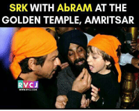 Memes, 🤖, and Srk: SRK WITH AbRAM AT THE  GOLDEN TEMPLE, AMRITSAR  VC J  WWW.RVCJ.COM Cuteness overloaded ^__^