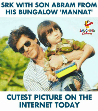 #ShahRukhKhan #AbRam: SRK WITH SON ABRAM FROM  HIS BUNGALOW 'MANNAT  LAUGHING  Colours  CUTEST PICTURE ON THE  INTERNET TODAY #ShahRukhKhan #AbRam