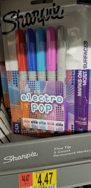Someone actually had the power to flip a marker over. How dare they.: Sronguies  electro  POP  FINE  PERMANENT  MARKER  OPTIC  ORANGE  TECHNO  BLUE  NANO  BLUE  ELECTRIC  PINK  ULTRA  VIOLET  5  CT  Fine Tip  5 Count  Permanent Marker  Shorpie  RETAIL PRICE  4.47 $4.47  EACH  1.0EA  SH EN 5CT EPOP MARK  001000095-0040  MARKS ON  WAFACEC CiSO Someone actually had the power to flip a marker over. How dare they.