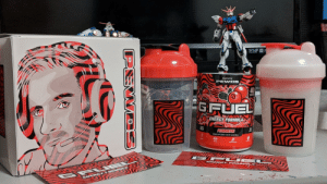 Nice little collection :) ft. My gundams in the back.: srso  70  Inspired by  PEWDS  40  SERVINS  GFUEL  ENERGY FORMULA  SUGAR  FREE  15  PEWDIEPIE  CLR  DIETARY SUPPLEMENT/NET WT.9.8 0Z (280 g)  FOCUS  ALACTION  ENDURANCE  ENER GY F ORM VLA  ENERGY FORMU  PEWDS Nice little collection :) ft. My gundams in the back.