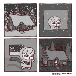 Snow day [OC]: ss  O @bysweetticket Snow day [OC]