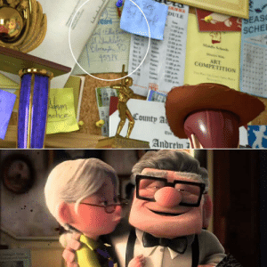 In Toy Story 3 (2010) while in Andy's room you can see pinned on his board a post card from Carl and Ellie from the film Up (2009): SSEASO  SCHEL  EEERY  DULE  eard  aklita  Blonytin PD  45978  Mide Sch  1200  1200  ART  СOMPETПON  200  12:00p  n00 sm  100pm  200 pm  1200pm  County A  actice  Andrem  FRI In Toy Story 3 (2010) while in Andy's room you can see pinned on his board a post card from Carl and Ellie from the film Up (2009)