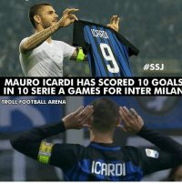 Football, Goals, and Memes:  #SSJ  MAURO ICARDI HAS SCORED 10 GOALS  IN 10 SERIE A GAMES FOR INTER MILAN  TROLL FOOTBALL ARENA  CARD Icardi 🔥⚽️