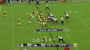 Memes, Ravens, and 🤖: ST & 10  RAVENS  7:32 4TH  1st & 10  13  26  WBALTV Oooo that was pretty.   #BALvsGB https://t.co/UNOyabtqY8