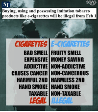 Bad, Memes, and Money: ST  Buying, using and possessing imitation tobacco  products like e-cigarettes will be illegal from Feb 1  CIGARETIES E-CIGARETIES  BAD SMELL FRUITY SMELL  EXPENSIVE MONEY SAVING  ADDICTIVE NON-ADDICTIVE  CAUSES CANCER NON-CANCEROUS  HARMFUL 2ND HARMLESS 2ND  HAND SMOKE HAND SMOKE  TAKABLE NON-TAKABLE  EGAL ILLEGAL Hmmm, things doesn't seem to be adding up...
