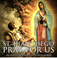 "In preparation for the upcoming Feast of Our Lady of Guadalupe (Dec 12), we celebrate the feast of St. Juan Diego today (Dec 9). St. Juan Diego, pray for us!  Thousands of people gathered in the Basilica of Our Lady of Guadalupe July 31, 2002, for the canonization of Juan Diego, to whom the Blessed Mother appeared in the 16th century.  First called Cuauhtlatohuac (""The eagle who speaks""), Juan Diego's name is forever linked with Our Lady of Guadalupe because it was to him that she first appeared at Tepeyac hill on December 9, 1531. The most famous part of his story is told in connection with the Feast of Our Lady of Guadalupe on December 12. After the roses gathered in his tilma were transformed into the miraculous image of Our Lady, however, little more is said about Juan Diego.  In time he lived near the shrine constructed at Tepeyac, revered as a holy, unselfish and compassionate catechist who taught by word and especially by example.  During his 1990 pastoral visit to Mexico, Pope John Paul II confirmed the long-standing devotion to Juan Diego, beatifying him. Twelve years later he was proclaimed a saint.  God counted on Juan Diego to play a humble yet huge role in bringing the Good News to the peoples of Mexico. Overcoming his own fear and the doubts of Bishop Juan de Zumarraga, Juan Diego cooperated with God's grace in showing his people that the Good News of Jesus is for everyone.   ""In accepting the Christian message without forgoing his indigenous identity, Juan Diego discovered the profound truth of the new humanity, in which all are called to be children of God."" (St. John Paul II): ST. JUAN DIEGO  PRAY FOR US  THE STArtion oF tHE CROss CATHOLic RADio ITETwORK In preparation for the upcoming Feast of Our Lady of Guadalupe (Dec 12), we celebrate the feast of St. Juan Diego today (Dec 9). St. Juan Diego, pray for us!  Thousands of people gathered in the Basilica of Our Lady of Guadalupe July 31, 2002, for the canonization of Juan Diego, to whom the Blessed Mother appeared in the 16th century.  First called Cuauhtlatohuac (""The eagle who speaks""), Juan Diego's name is forever linked with Our Lady of Guadalupe because it was to him that she first appeared at Tepeyac hill on December 9, 1531. The most famous part of his story is told in connection with the Feast of Our Lady of Guadalupe on December 12. After the roses gathered in his tilma were transformed into the miraculous image of Our Lady, however, little more is said about Juan Diego.  In time he lived near the shrine constructed at Tepeyac, revered as a holy, unselfish and compassionate catechist who taught by word and especially by example.  During his 1990 pastoral visit to Mexico, Pope John Paul II confirmed the long-standing devotion to Juan Diego, beatifying him. Twelve years later he was proclaimed a saint.  God counted on Juan Diego to play a humble yet huge role in bringing the Good News to the peoples of Mexico. Overcoming his own fear and the doubts of Bishop Juan de Zumarraga, Juan Diego cooperated with God's grace in showing his people that the Good News of Jesus is for everyone.   ""In accepting the Christian message without forgoing his indigenous identity, Juan Diego discovered the profound truth of the new humanity, in which all are called to be children of God."" (St. John Paul II)"