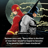 """Batman, Memes, and Parents: St  O DAILYCOMICFACTS  Batman once said, """"Barry Allen is the kind  of man that I would've hoped to become  if my parents hadn't been murdered."""" Wrapping up Batman week with our final Batman fact! If you guys enjoyed Batman week on my page, comment below who you would like me to do next! • dccomics detectivecomics comics dccomicheroes dccomicvillains hero villain heroes villains justiceleague unitethe7 dccomicstudios dccu dccomicfacts dailycomics comic comicfacts dailycomicfacts"""